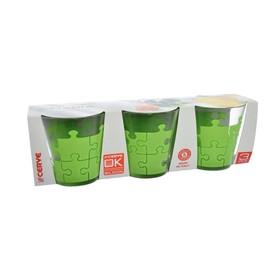 Набор стаканов «Пазл зеленый», объём 250 мл, 3 шт.