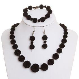 """Набор 3 предмета: серьги, бусы, браслет """"Бархатный стиль"""" шарики, цвет чёрный"""