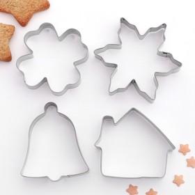 {{photo.Alt || photo.Description || 'Набор форм для вырезания печенья «Снежинка. Домик. Колокольчик. Клевер», 4 шт'}}
