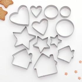 {{photo.Alt || photo.Description || 'Набор форм для вырезания печенья Доляна «Домик. Круг. Сердце. Звезда», 12 шт'}}