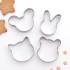 """Набор форм для вырезания печенья """"Животные"""", 4 шт - фото 131299785"""