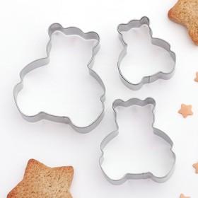Набор форм для вырезания печенья «Мишки», 3 шт, 5,6×6см