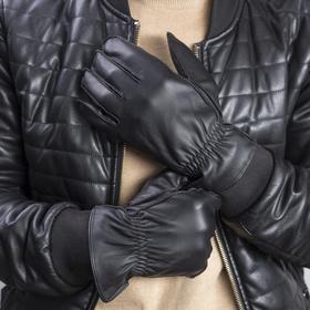 Перчатки мужские, размер 10, резинка, подклад флис, цвет чёрный