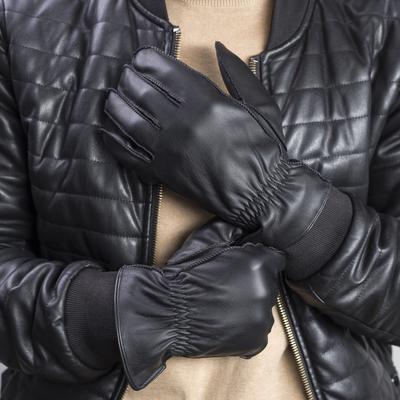 Gloves men's, size 10, elastic band, fleece lining, color black
