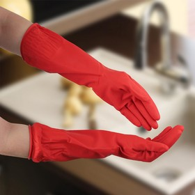 Перчатки хозяйственные резиновые Доляна, размер L, длинные манжеты, 90 гр, цвет красный