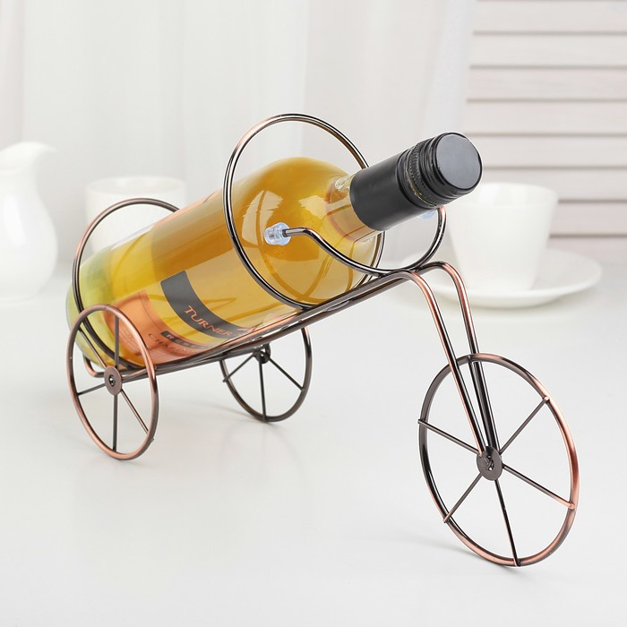 "Подставка для бутылки 32х10,5х19 см ""Велосипед"", цвет коричневый"