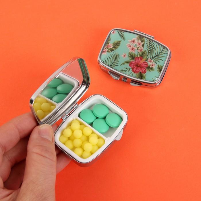 Таблетница «Тропические цветы», с зеркальной поверхностью, 2 секции, цвет серебряный/зелёный