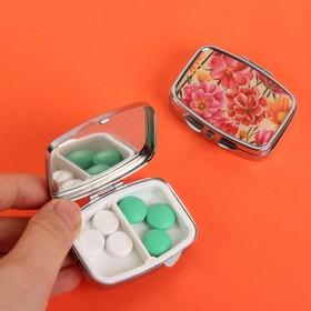 Таблетница «Солнечный букет», с зеркальной поверхностью, 2 секции, цвет серебряный/оранжевый