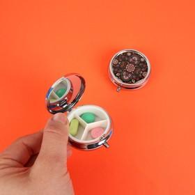 Таблетница «Узор», с зеркальной поверхностью, 3 секции, цвет серебряный/чёрный