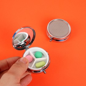 Таблетница «Геометрия», с зеркальной поверхностью, 3 секции, цвет серебряный/розовый