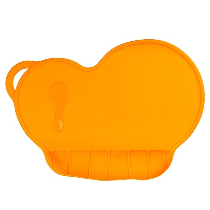 Коврик силиконовый для кормления, антискользящий, цвет оранжевый