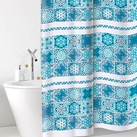 Штора для ванной комнаты Cementine, 180 х 200 см, ПВХ, синяя