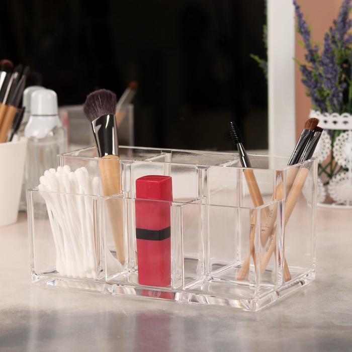 Органайзер для хранения косметических принадлежностей, 6 секций, цвет прозрачный