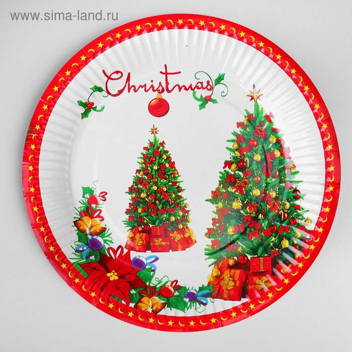 """Paper plate """"Tree with presents"""" (set 6 PCs)"""
