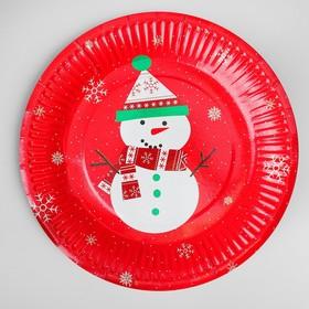Тарелка бумажная «Снеговик», набор 6 шт.