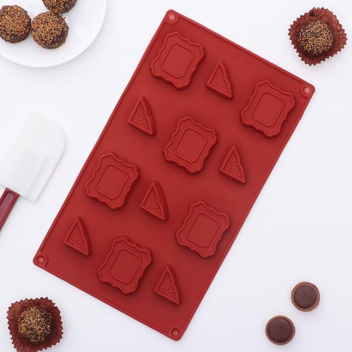 """Форма для льда и шоколада """"Таблички с вензелями"""", 12 ячеек"""