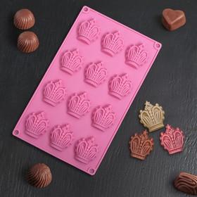 Форма для льда и шоколада «Корона», 12 ячеек (4,2×5 см), 28×16,5 см, цвет красный