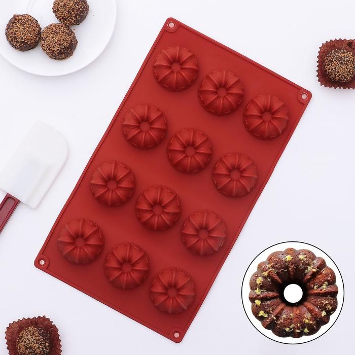 Форма для льда и шоколада 29,5×17 см «Заварные колечки», 15 ячеек (4,2×4,2×2 см), цвет МИКС