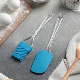 Набор для выпечки Доляна «Лёд», 2 предмета: лопатка 24 см, кисть 21 см, цвет МИКС