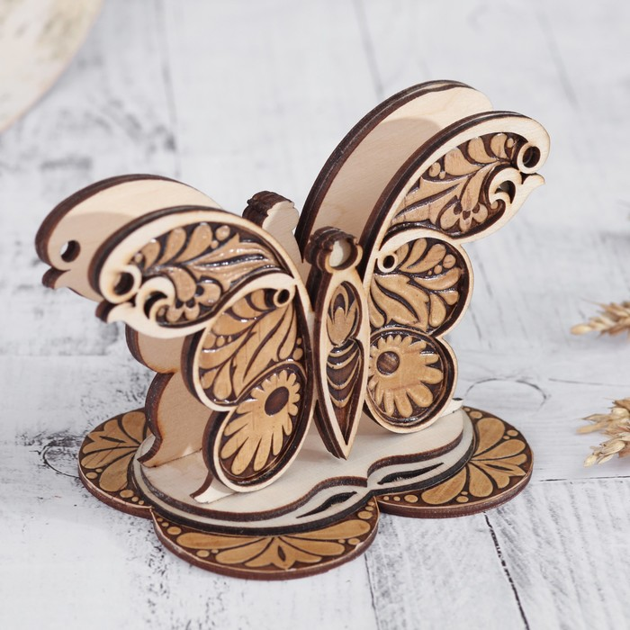 Салфетница «Бабочка», 15×9,5×10 см, береста, фанера