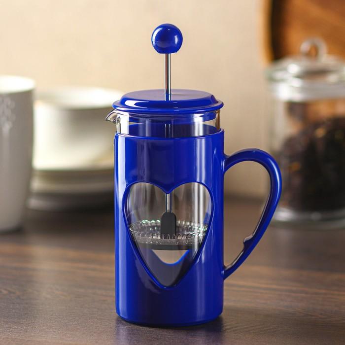 Френч-пресс Доляна «Комплимент», 350 мл, цвет синий - фото 875039