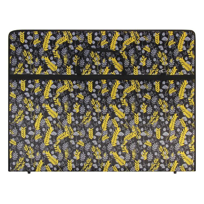 """Папка А1 с ручками текстиль 920*680*40 мм 2В1 """"Вдохновение"""" 2109145 Желтые листья на черн"""