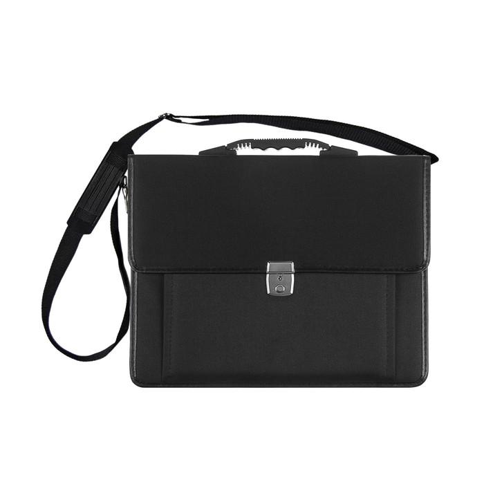 Портфель деловой, ткань, 380 х 290 х 10 мм, «Сосново», чёрный, с плечевым ремнем