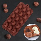 """Форма для льда и шоколада 21,5 х 10,4 см """"Полумесяц"""", 15 ячеек, цвет шоколадный"""
