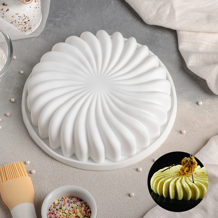 """Форма для муссовых десертов и выпечки 20×4,5 см """"Нежная сладость"""", цвет белый"""