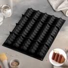 Форма для муссовых десертов и выпечки «Трюфели», 40,5×30 см, 5 ячеек (4,5×36,5 см), цвет чёрный - фото 308045915