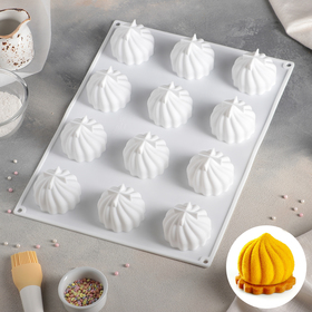 "Form for baking and mousse desserts 40 x 30 cm ""Whipped cream"", 12 cells, black"