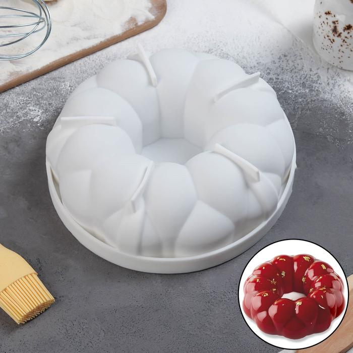 Форма для муссовых десертов и выпечки «Цветочное лакомство», 19,5×5,5 см, цвет белый - фото 308045142