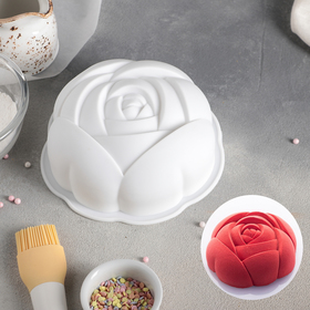 Form for baking and mousse desserts 17 x 5.5 cm rose, white