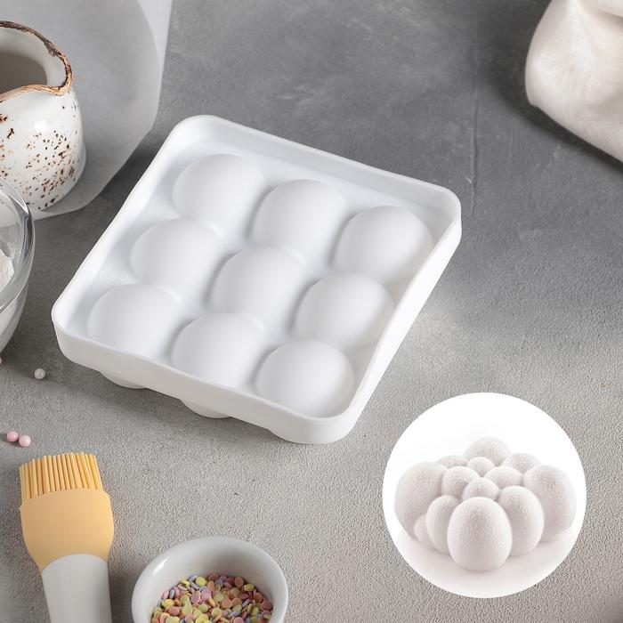 Форма для муссовых десертов и выпечки 14,8×4,1 см «Сладкие шарики», внутренний размер 12,5×13 см, цвет белый