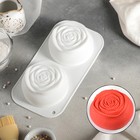 """Форма для муссовых десертов и выпечки 25×13,5 см """"Две розы"""", цвет белый"""