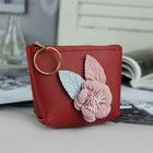 Wallet wives, division zipper, ring, color red