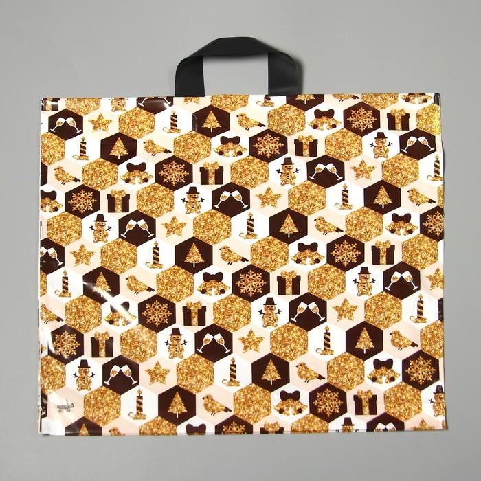 """Пакет """"Золотая феерия"""", полиэтиленовый с петлевой ручкой, 42 х 44 см, 70 мкм - фото 308291751"""