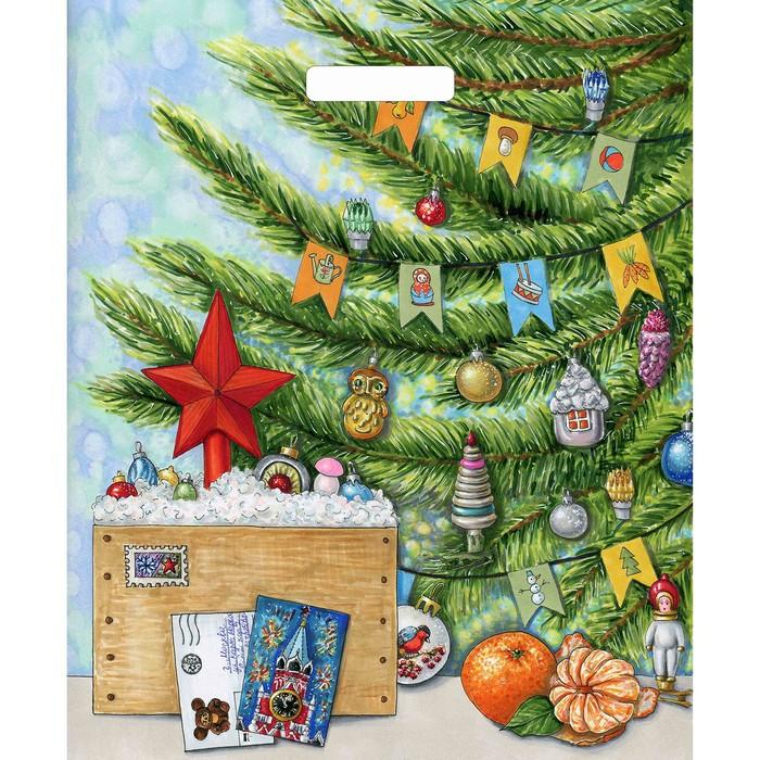 """Пакет """"Посылка с подарками"""", полиэтиленовый с вырубной ручкой, 45 х 38 см, 60 мкм - фото 308291752"""