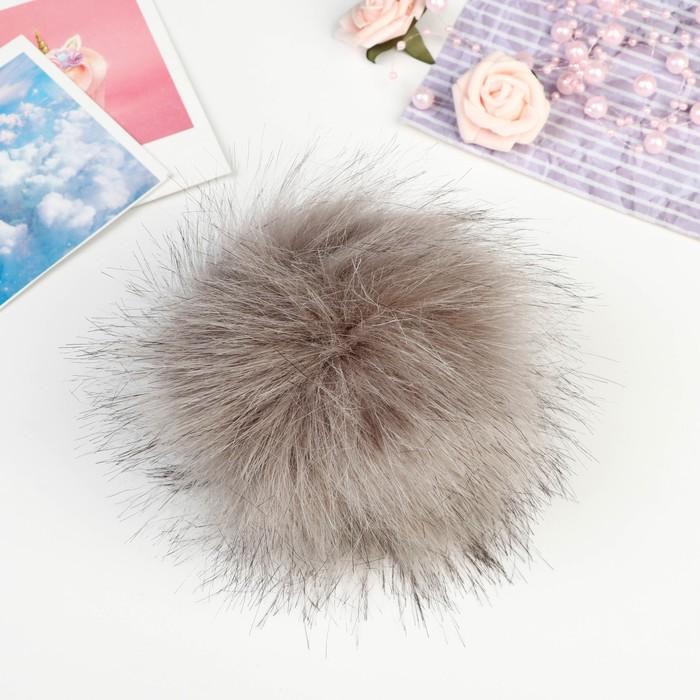 Помпон искусственный мех кролик 14см (т. серый)