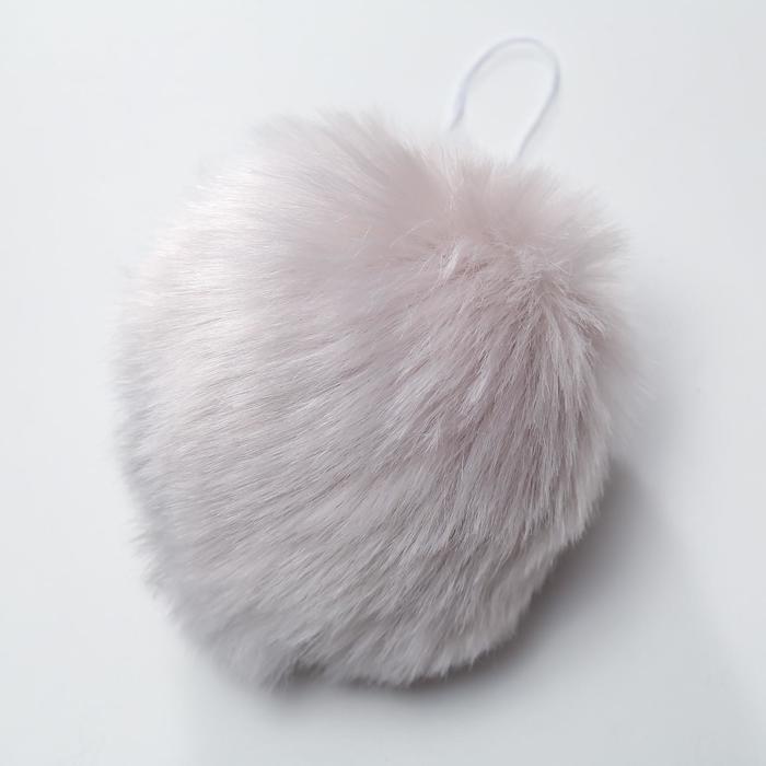 Помпон искусственный мех кролик 14см (серый)
