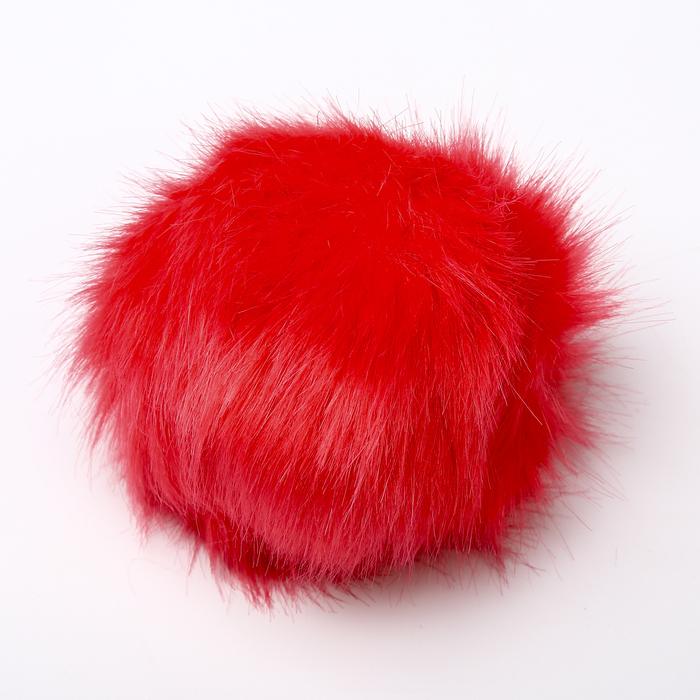 Помпон, искусственный мех, кролик, 14 см (цвет «коралл»)