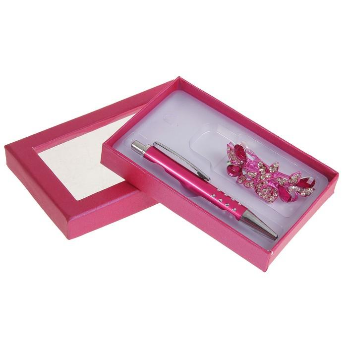 Набор подарочный 2в1: ручка, заколка Фиолет, малиновый