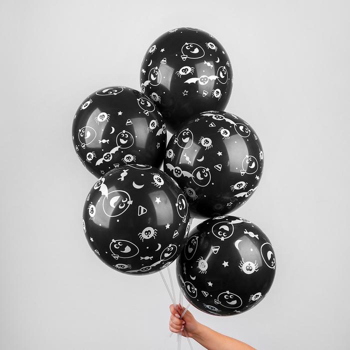 """Шар латексный 12"""" Halloween, летучие мыши, набор 5 шт., цвет чёрный - фото 276630168"""