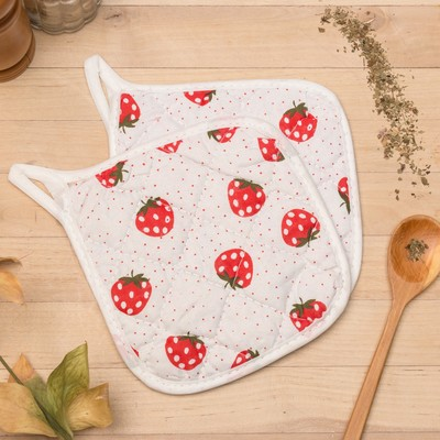 Kuh. set of 2 St. Dolyana Strawberry, potholder 15x15 cm - 2 PCs,100% PE