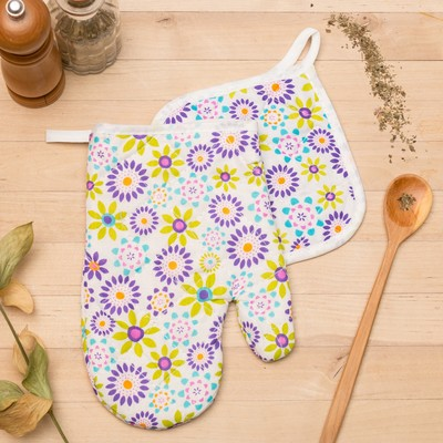 Kuh. set of 2 St. Dolyana clearing вид1,15х15см potholder, mitten 23х15 cm,100% PE