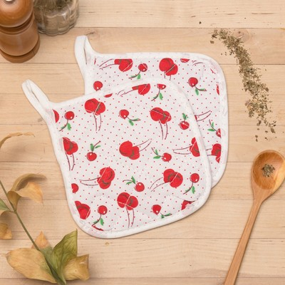 "Kuh. set of 2 St. Share ""Cherry"", potholder 15x15 cm - 2 PCs,100% p/e"