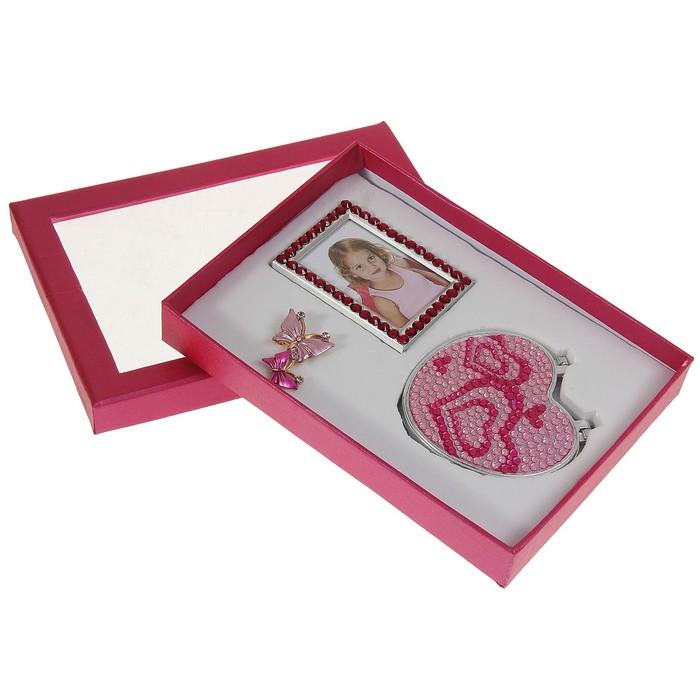 Набор подарочный 3в1: брошь, зеркало в сердечках, фоторамка
