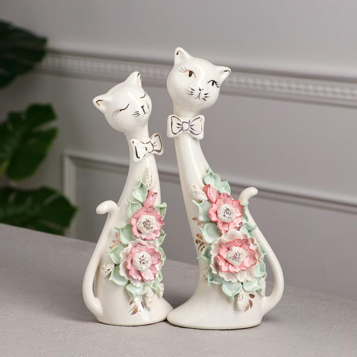 """Набор статуэток """"Коты сладкая парочка"""", цветная лепка, 28 см"""