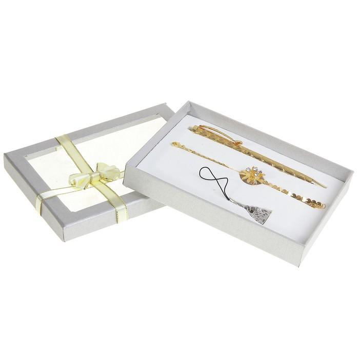 """Набор подарочный """"Золотой цветок"""" 3в1: ручка, браслет, подвеска"""