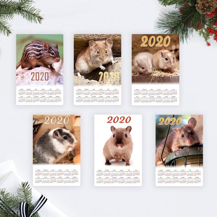 """Набор календарей-магнитов 12х18см """"Символ года - 2019"""" 8 штук"""